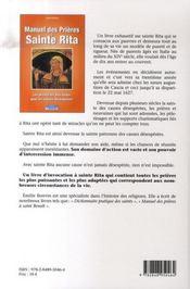 Manuel des prières à sainte rita - 4ème de couverture - Format classique