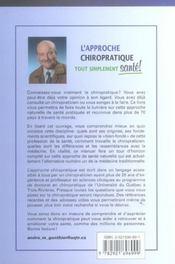 Approche Chiropratique Tout Simplement - 4ème de couverture - Format classique