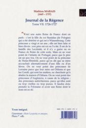Journal de la Régence t.7 ; 1724-1727 - 4ème de couverture - Format classique