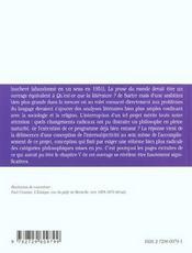 La Prose Du Monde La Perception D'Autrui Et Le Dialogue Extrait Du Chap.V Merleau-Ponty - 4ème de couverture - Format classique