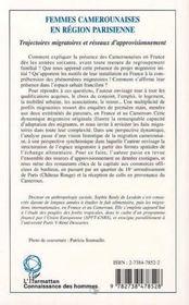 Femmes camerounaises en région parisienne ; trajectoires migratoires er réseaux d'approvisionnement - 4ème de couverture - Format classique