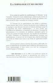 La Topologie Et Ses Signes ; Elements Pour Une Histoire Semiotique Des Mathematiques - 4ème de couverture - Format classique