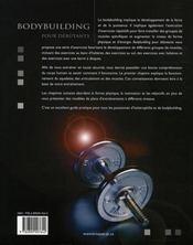 Bodybuilding pour débutants - 4ème de couverture - Format classique