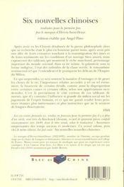 Six Nouvelles Chinoises T.1 - 4ème de couverture - Format classique