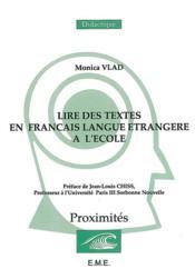 Lire des textes en français langue étrangère à l'école - Couverture - Format classique