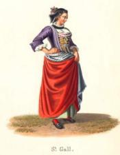 St. Gall. Femme de 3/4 à droite Corset busqué. Lourd jupon rouge. Costumes Suisses par G. Lory fils et F.-W. Moritz - Couverture - Format classique