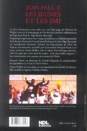 Jean-Paul Ii, Les Jeunes Et Les Jmj - 4ème de couverture - Format classique