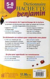 Dictionnaire Hachette benjamin ; CP/CE ; 5/8 ans - 4ème de couverture - Format classique