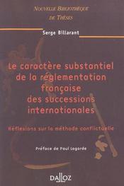 Caractere substantiel de la reglementation francaise des successions internationales - volume 31 (1re édition) - Intérieur - Format classique