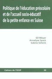 Politique De L'Education Prescolaire Et De L'Accueil Socioeducatif De La Petite Enfance En Suisse - Intérieur - Format classique
