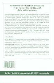 Politique De L'Education Prescolaire Et De L'Accueil Socioeducatif De La Petite Enfance En Suisse - 4ème de couverture - Format classique