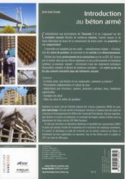 Introduction au béton armé ; théorie et applications courante selon l'Eurocode 2 - 4ème de couverture - Format classique
