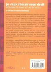 Je veux réussir mon droit ; méthodes de travail et clés du succès (6e édition) - 4ème de couverture - Format classique