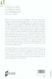 Guerres et paix en afrique noire et à madagascar. xix et xx siècles - 4ème de couverture - Format classique