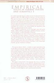 Empirical Issues In Formal Syntax And Semantics 4. Questions Empiriques Et Formalisation En Syntaxe - 4ème de couverture - Format classique