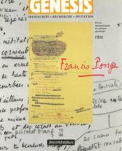 Genesis N.12 ; Francis Ponge - Couverture - Format classique