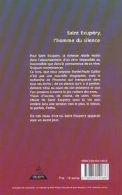 Saint-exupery, l'homme du silence - 4ème de couverture - Format classique