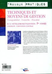 Techniques et moyens de gestion ; BTS hotellerie - 4ème de couverture - Format classique
