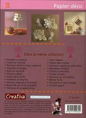 Creativa T.21 ; Papier Déco ; Des Objets En Papier Pour Une Déco Ephémère Et Originale - 4ème de couverture - Format classique