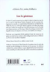 Lion Le Genereux - 4ème de couverture - Format classique