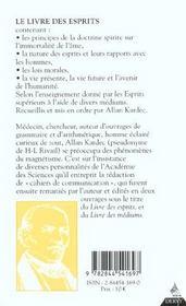 Le livres des esprits - 4ème de couverture - Format classique