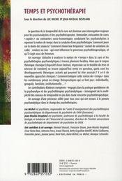 Temps et psychothérapie - 4ème de couverture - Format classique