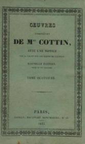 Oeuvres complétes de Mme Cottin, avec une notice sur la vie et sur les écrits de l'auteur, tome 4 - Couverture - Format classique