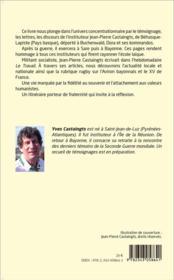 Courage et espoir ; Jean-Pierre Castaingts, déporté- résistant, instituteur, citoyen engagé - 4ème de couverture - Format classique