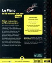 Le piano en 15 minutes par jour pour les nuls mégapoche - 4ème de couverture - Format classique