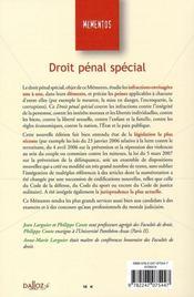 Droit pénal spécial (14e édition) - 4ème de couverture - Format classique