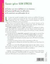 Savoir Gerer Son Stress - 4ème de couverture - Format classique