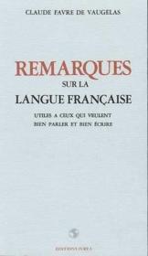 Remarques Sur La Langue Francaise - Couverture - Format classique