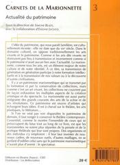 Actualité du patrimoine ; carnets de la marionnette - 4ème de couverture - Format classique