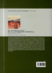 El Autor Oculto En La Literatura Espanola - 4ème de couverture - Format classique