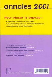 Annales Du Brevet - 4ème de couverture - Format classique