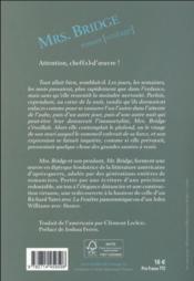 Mrs bridge - 4ème de couverture - Format classique
