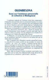 Olombelona ; Essai Sur L'Existence Personnelle Et Collective A Madagascar - 4ème de couverture - Format classique
