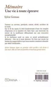 Mémoire ; une vie à toute épreuve - 4ème de couverture - Format classique