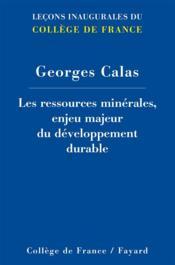 Les ressources minérales ; enjeu du développement durable - Couverture - Format classique