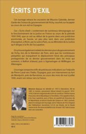 Écrits d'exil ; contribution à l'histoire de la période 1939-1945 - 4ème de couverture - Format classique