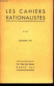 LES CAHIERS RATIONALISTES - N°63 - decembre 1937 / Les Vitamines et les Avitaminoses. - Table des Matieres. - Couverture - Format classique