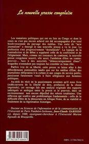 La Nouvelle Presse Congolaise : Du Goulag A L'Agora - 4ème de couverture - Format classique