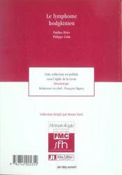 Le Lymphome Hodgkinien - 4ème de couverture - Format classique