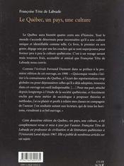 Le quebec : un pays, une culture (ne) - 4ème de couverture - Format classique