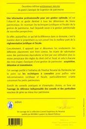 Les Techniques De Gestion De Patrimoine ; 2e Edition ; Guide Juridique Et Fiscal - 4ème de couverture - Format classique