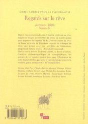 Libres Cahiers Pour La Psychanalyse T.14 ; Regards Sur Le Rêve - 4ème de couverture - Format classique
