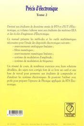 Precis d'electronique t.2 deuxieme annee - 4ème de couverture - Format classique