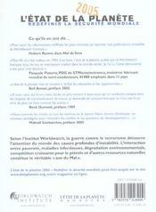 L'Etat De La Planete 2005 ; Redefinir La Securite Mondiale - 4ème de couverture - Format classique