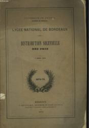 Lycee National De Bordeaux. Distribution Solennelle Des Prix, 7 Aout 1875. - Couverture - Format classique
