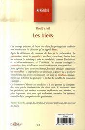 Droit Civil ; Les Biens (4e Edition) - 4ème de couverture - Format classique